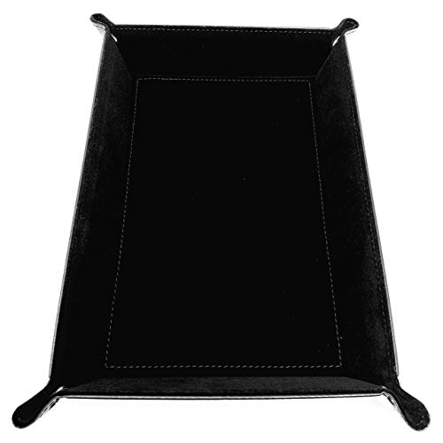 Harbor Loot Brand Black Dice Tray - Perfectly Sized at 8.5 x 11.25 Inches Unsnapped and 6.5 x 9.5 Snapped - Designed by Gamers - Packs Flat, Protects Your Table, and Keeps Dice Where They Belong
