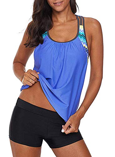 Actloe Women Floral Blouson Printed T-Back Tankini Top with Shorts Two Pieces Swimsuit Blue Small