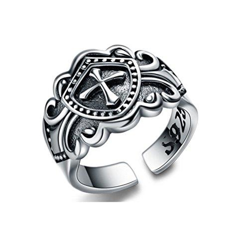 Jazlyn Ring, 925er-Silber, Chrom, Motiv: Herz, Punk, Rock, Vintage, 31,5Karat, Unisex, Damen, Herren, Ring mit großer Öffnung