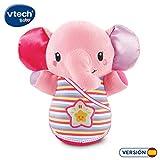 VTech-Trompito, Elefante de Peluche para bebé, Musical, luz de Noche, con más de 45 Voces, Canciones y melodías, Color Rosa, (3480-508657)
