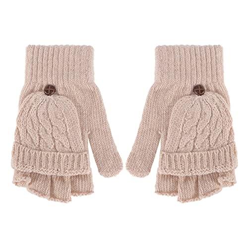 Luvas dedos conversíveis femininas de lã quente de inverno com capa de luva (bege) for Women