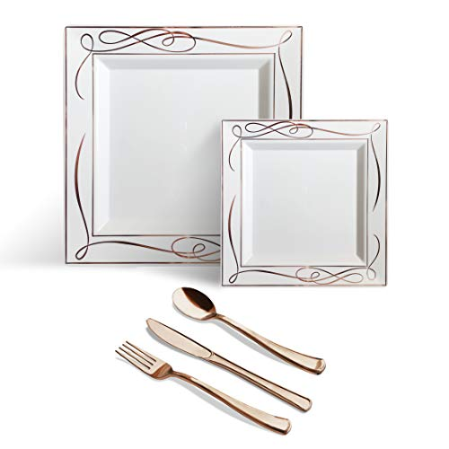 Helen's 125 Piece Rose Gold Square Disposable Plastic Plates Cutlery Set|Silverware Premium Quality Wedding Party|Set Include: 25 Dinner Plates + 25 Dessert Plates + 25 Forks + 25 Spoons + 25 Knives