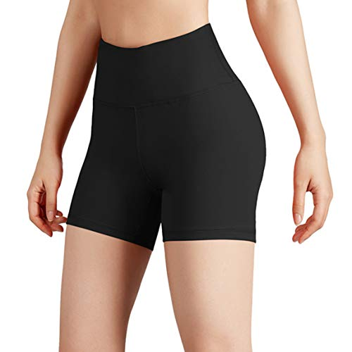 ODODOS Women's Yoga Short Tummy Control Workout Running Athletic Non See-Through Yoga Shorts with Hidden Pocket,Black,Medium