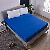 CYYyang Protector de colchón Acolchado - Microfibra - Transpirable - Funda para colchon estira hasta Sábana Impermeable Lavable a máquina Color sólido-Azul_80cmX200cmX30cm
