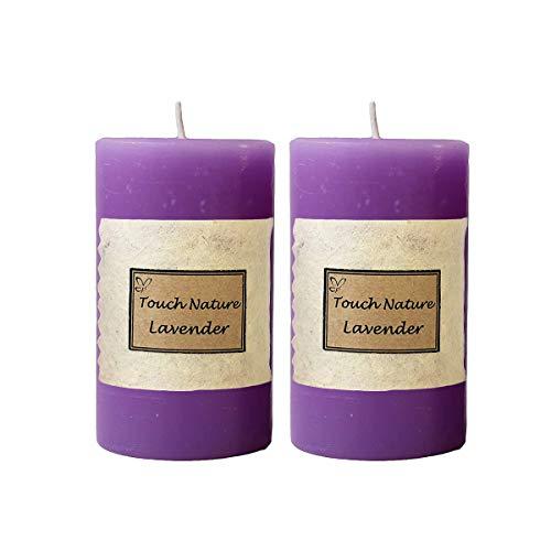 Touch Nature Aceite Esencial de Lavanda perfumada aromaterapia fragante púrpura Hecha a Mano de la Vela. vertido Mano Velas del Pilar decoración rústica. (5x7 cm, Juego de 2)
