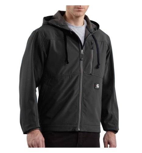 Carhartt Men's Big & Tall Soft Shell Hooded Jacket Ripstop,Black (Closeout),XX-Large