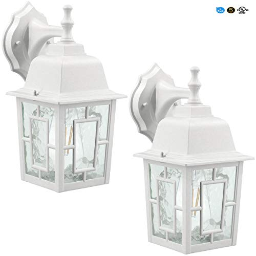 LED Wall Lantern, Wall Sconce as Porch Light, (100-150W Equivalent), 1100 Lumen, Aluminum Housing Plus Glass, Matte Finish, Outdoor Rated, (ST64 8W),White for 2Pack 9031