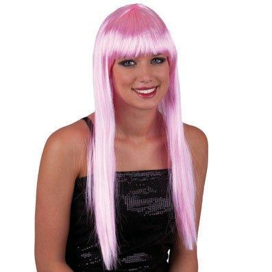 Funny Fashion Cheveux Tout Droit Longue Perruque Rose