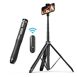 """ATUMTEK 51"""" Selfie Stick Tripod, All in One Extendable Phone Tripod Stand with Bluetooth Remote 360° Rotation for iPhone and Android Phone Selfies, Video Recording, Vlogging, Live Streaming - Black"""