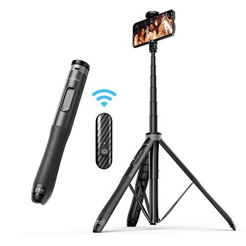 ATUMTEK 51 Zoll Selfie Stick Stativ, Bluetooth Selfie Stick mit Hochbelastbarem Aluminium und Rutschfesten Dreibein Füßen für iPhone und Android-Handy Selfie, Videoaufnahme, Videoblogs Live Streaming