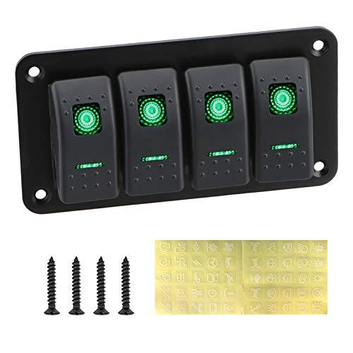 Qiche42 4 Panel de interruptor de control de automóviles de pandillas LED Panel de balancín de automóviles abstemioso para automóviles Marítimo RV Caravana Partes interiores de automóviles Piezas de r