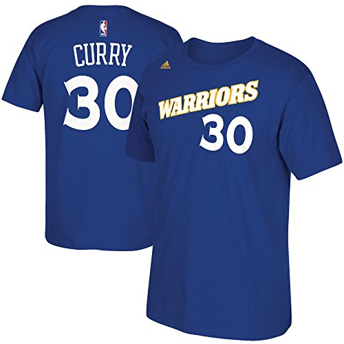 adidas Stephen Curry Golden State Warriors Blue Alternate Retro Jersey Name and Number T-Shirt X-Large