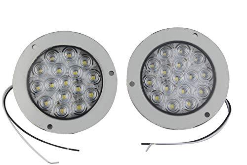 HEHEMM Lot de 2 feux arrière ronds 16 LED pour voiture camion remorque 10-30 V (Blanc)