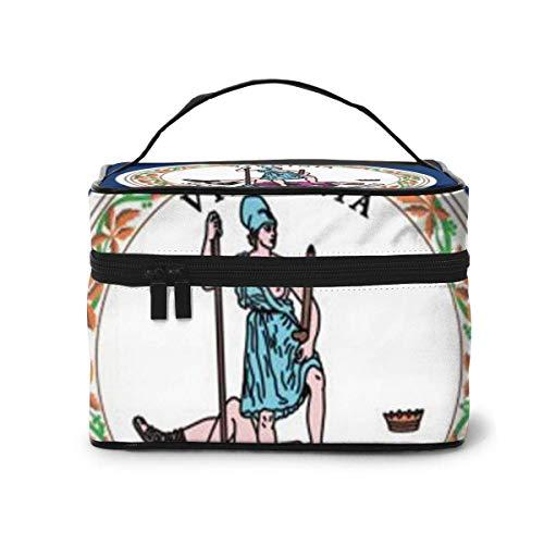 Virginia State Flag Travel Cosmetic Organizer Portable Artist Storage Bag, Multifunction Toiletry Bags
