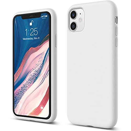 """Elago Silicone Liquido Custodia Cover Compatibile con iPhone 11 Case (6.1""""), Silicone Liquido Premium, Protezione Full Body : Case Antiurto 3 Strati (Bianco)"""