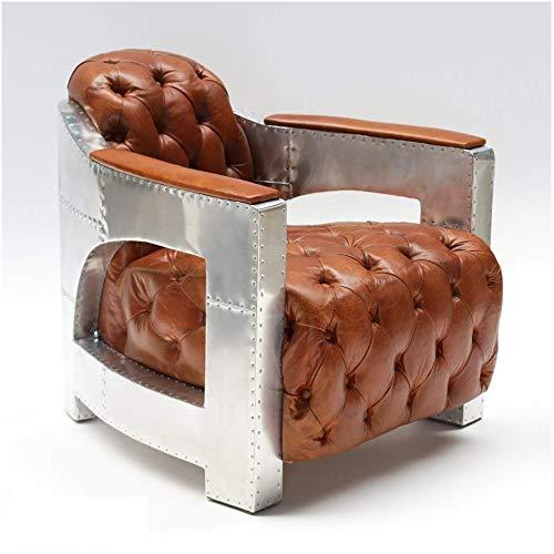 Phoenixarts Echtleder Vintage Alu Chesterfield Sessel Retro Ledersessel Design Lounge Club Sofa NEU 556