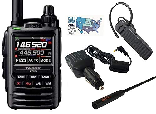 Radio and Accessory Bundle - 5 Items - Includes Yaesu FT-3DR C4FM/FM Dual Band Radio, Bluetooth Earpiece Microphone, Cig. Lighter Power Adapter, Diamond Antenna and Ham Guides TM Quick Reference Card