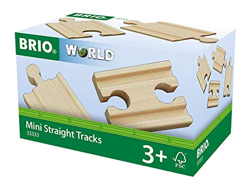 Brio World 33333 - Mini-Straight Tracks - 4 Piece Wooden Train Tracks for Kids Ages 3 and Up