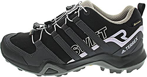 adidas Terrex Swift R2 GTX, Trail Running Shoe Mujer, Core Black/Solid Grey/Purple Tint, 38 EU
