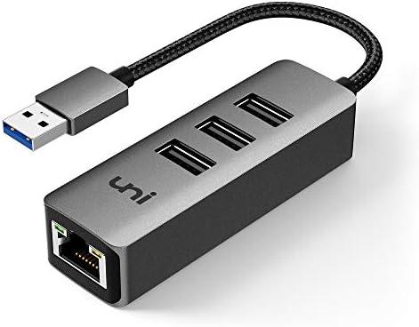 USB to Ethernet Adapter uni 3 Ports USB 3 0 Ethernet Hub with RJ45 1Gbps Gigabit Ethernet Adapter product image