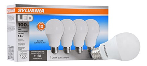 LEDVANCE 78103 Sylvania Non-Dimmable Led Light Bulb, 14 W, 120 V, 1500 Lumens, 5000 K, CRI 80, 2.375 in Dia X 4.29 in L, Daylight, 4 Count
