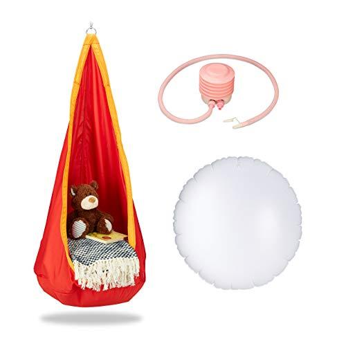 Relaxdays, orange-rot Hängehöhle Kinder, robuster Stoff, Indoor und Outdoor, 140x55cm, bis 70kg, Hängesack mit Haken-Öse