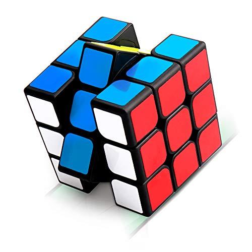 Sporgo Zauberwürfel, 3x3 Zauberwürfel, Magic Cube, Puzzle Cube, Speedcube für Konzentrations und Kombinationsübungen, Dreht Sich Schneller und Präziser, Super Robust mit Lebendigen Farben (Black)