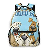 EUlemon Travel Laptop Backpack,Dogs Spoiled Here Everyday Humor Bulldog Dalmation Hounds,Large Business Water Resistant Anti Theft Computer Daypack Slim Durable College School Bookbag