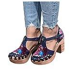 Binggong Sandali Pantofole con Fibbia Scarpe con Tacco Spesso Fiore Testa Tonda Ciabatte Estiva Scarpe da Donna Eleganti Sandali Pantofole Estivi Boemia Roma Sandal Vacanza Spiaggia Sandalo