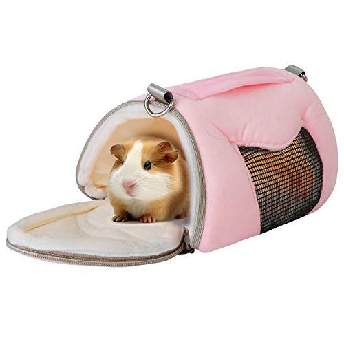 Eurobuy Hamster-Tragetasche, tragbare atmungsaktive Haustier-Tragetasche Hamster House Eichhörnchen Winter warme Käfig Nest Eichhörnchen Zubehör (Color : Pink)