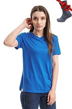 Merino.tech 100% NZ Organic Merino Wool Lightweight Women s Base Layer Thermal Short Sleeve T-Shirt + Merino Wool Hiking Socks Bundle | Moisture Wicking | No Odor | UPF 25  XLarge Sky Blue