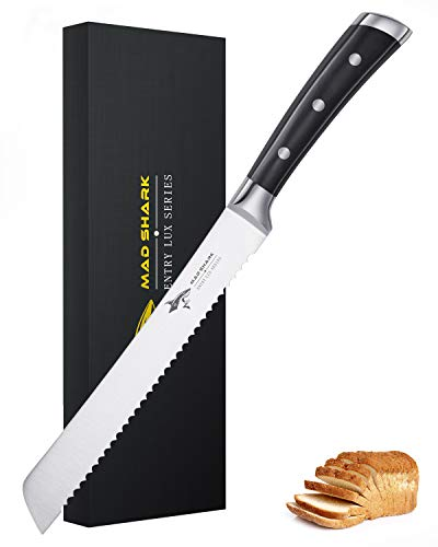 Bread Kinfe—MAD SHARK 8 Inch Pro Serrated Bread Cutter,German High Carbon Stainless Steel Cake Knife with Ergonomic Handle, Ultra Sharp Baker's Knife