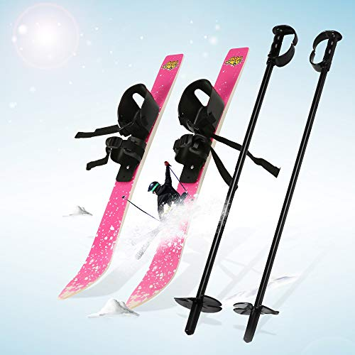 LONABR Lightweight Snow Ski and Pole Set with bindings Sturdy 26Inch Snow Skiing Equipment for Kid's Beginner (Pink)
