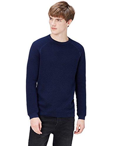 Marca Amazon - find. Jersey con Texturas Combinadas para Hombre, Azul (Navy), M, Label: M