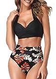 AOQUSSQOA Mujeres Tankini de Dos Piezas Trajes de baño Cintura Alta Halter Vintage Bikini Set Traje de baño para Mujer (Black Maple, XL)
