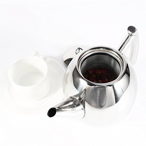 Teekanne Edelstahl Kaffeemaschine in Silber mit Filter Aufbrühen Hohe Kapazität, edelstahl, 1 l
