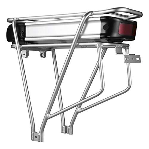 ZYYNET Lithium Batterie mit Gepäckträger E-Bike Mountainbike 36V / 48V 20AH Große Kapazität 18650 Wiederaufladbare Batterien Set Tragbares Li-Ionen Batterie Ladegerät Abschließbar,Silver-36V 20Ah
