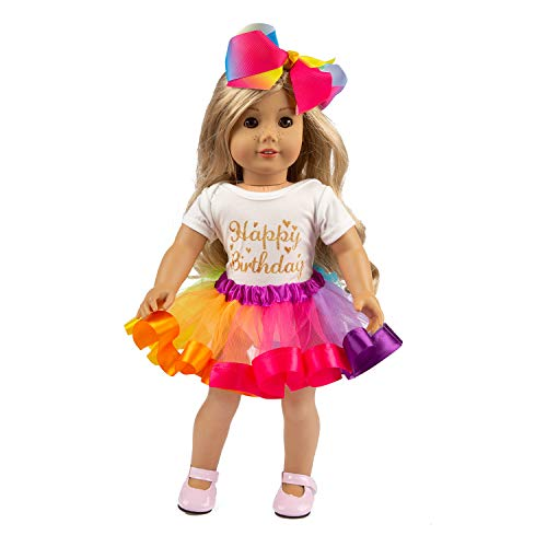 ZITA ELEMENT American 18 Inch Girl Doll Clothes and Accessories - 1 Rainbow Tutu, 1 Jumpsuit and 1 Bow Hair Clip for 16...
