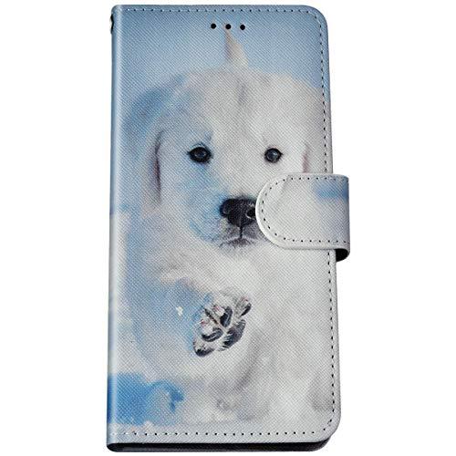 Felfy Kompatibel mit LG K40S Hülle Magnet Klapphülle,Bunte Painted Hund Muster Schutzhülle PU Lederhülle Brieftasche mit Kartenfach/Standfunktion Flip Tasche Handyhülle für LG K40S