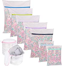 Wanapure 9Pcs Mesh Laundry Bag for Delicates, Lingerie Bags for Laundry - (1 Large & 4 Medium & 2 Small & 2 Bra Bags) for Garment, Underwear, Sock, Baby Clothes, Sweater, Travel, Washing Machine