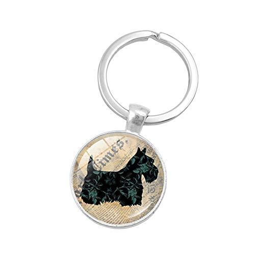 KTENME Schlüsselanhänger in Form eines kleinen Hundes rund, Glasanhänger, Schlüsselring, Auto-Zubehör, Handtasche, Geldbörse, Party, Verzierung für Unisex, Legierung, 1, 5.7 * 2.7cm