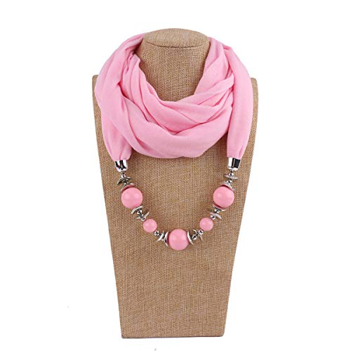 FDFRGG Hermosas Cuentas Anillo Babero señoras Babero joyería Collar Nacional Viento Bufanda 180 cm Rosa