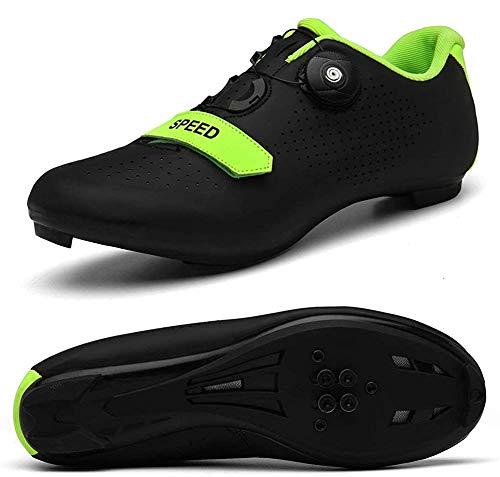 STEELEMENT.Herren Fahrradschuhe Spin Shoestring mit kompatiblen Stollen Peloton Schuh mit SPD und Delta für Männer Lock Pedal Fahrradschuhe, black-45