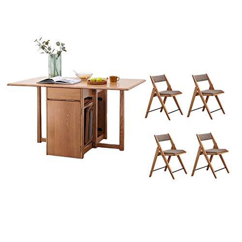 Kunze Juego de Mesa Plegable Comedor con 4 sillas Acolchadas, Roble Hoja de la Gota Mesa de la Cocina de Ahorro de Espacio for el Ministerio del Interior de la Cocina
