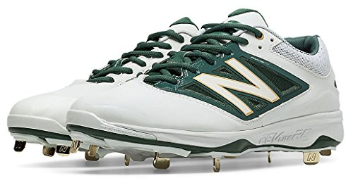 New Balance Men's L4040v3 Low Metal Baseball Cleats White/Green 16