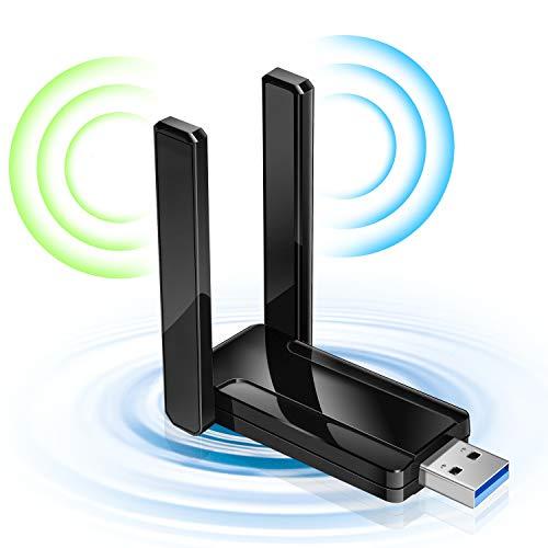 WiFi 無線LAN 子機 1300Mbps wifi アダプタ 2.4G/5G デュアルバンド 5dBi高速通信 USB3.0式 180度回転 802.11ac 外部アンテナ 放熱 Windows 7/8/10/Vista/XP/Mac OS 対応 認証済み