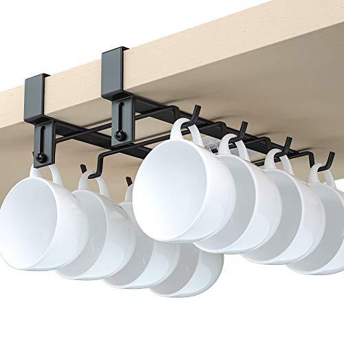 AmoVee Mug Holder Under Cabinet 8 Hooks Coffee Cup Mug Holder for Kitchen, Hanging Rack Without Drilling (Black)
