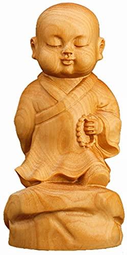 Bedspread Piccolo Monaco Statua, Piccolo Monaco Scultura in Legno Buddha Mini Monaco Statua del Buddha Decorazione Decorazione Tavolo da Pranzo Decorazione della casa Regalo