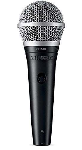 SHURE PGA48 - Micrófono Dinámico Cardioide para Voz con Cable XLR a QTR, Negro, Metálico
