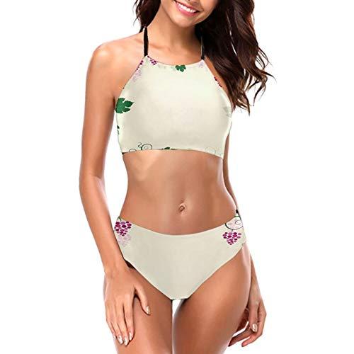 Mujeres Uva Vines Marco Fruta Jardín Curvas Ramas Hojas Halter Bikini Bañadores Cuello Alto Dos Piezas Bikini Traje de baño